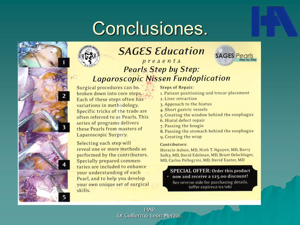 HAP. Dr.Guillermo León Merino. Conclusiones.