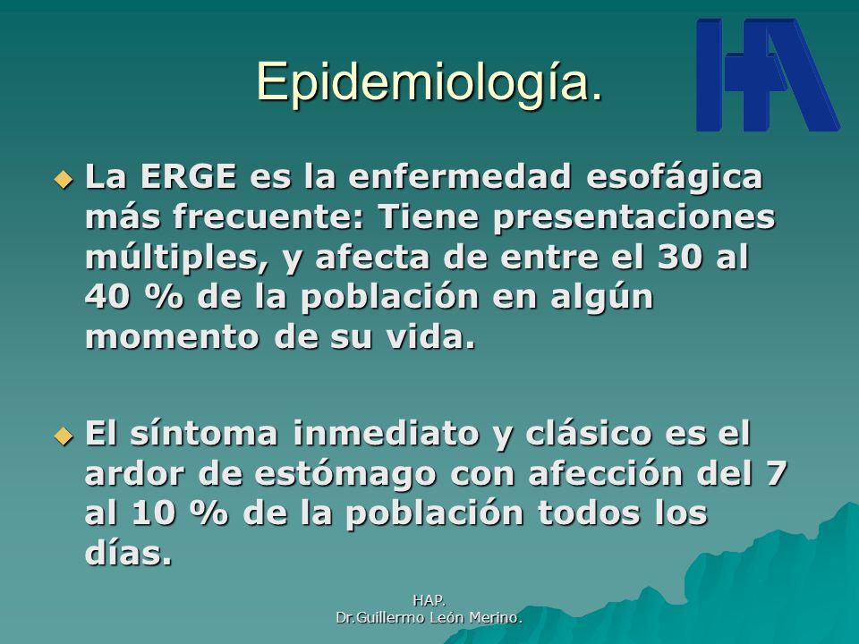 HAP. Dr.Guillermo León Merino. Epidemiología. La ERGE es la enfermedad esofágica más frecuente: Tiene presentaciones múltiples, y afecta de entre el 3