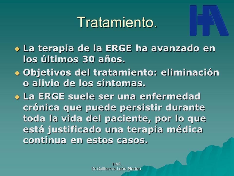 HAP. Dr.Guillermo León Merino. Tratamiento. La terapia de la ERGE ha avanzado en los últimos 30 años. La terapia de la ERGE ha avanzado en los últimos