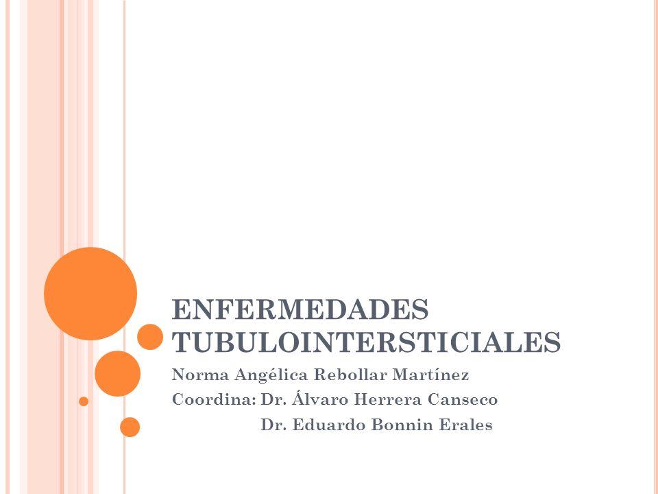 M ORFOLÓGICAMENTE Edema intersticial Infiltración cortical y medular por células mononuclerares y PMN Zonas segmentarias de necrosis de las células tubulares.