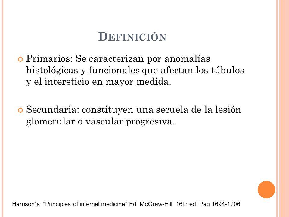 D EFINICIÓN Primarios: Se caracterizan por anomalías histológicas y funcionales que afectan los túbulos y el intersticio en mayor medida. Secundaria: