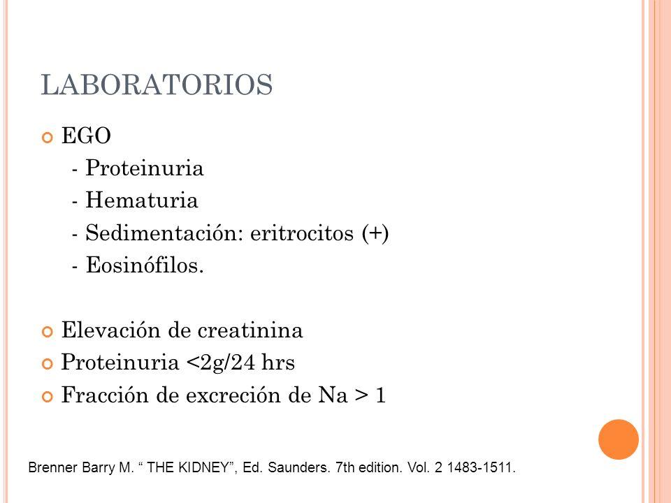 LABORATORIOS EGO - Proteinuria - Hematuria - Sedimentación: eritrocitos (+) - Eosinófilos. Elevación de creatinina Proteinuria <2g/24 hrs Fracción de