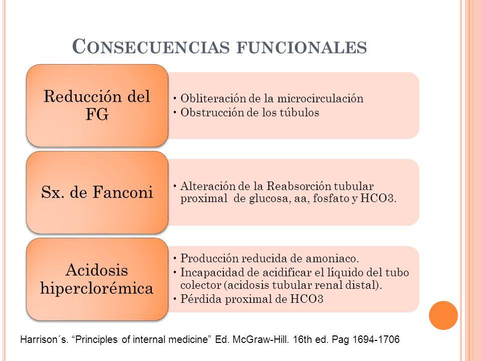 C ONSECUENCIAS FUNCIONALES Obliteración de la microcirculación Obstrucción de los túbulos Reducción del FG Alteración de la Reabsorción tubular proxim