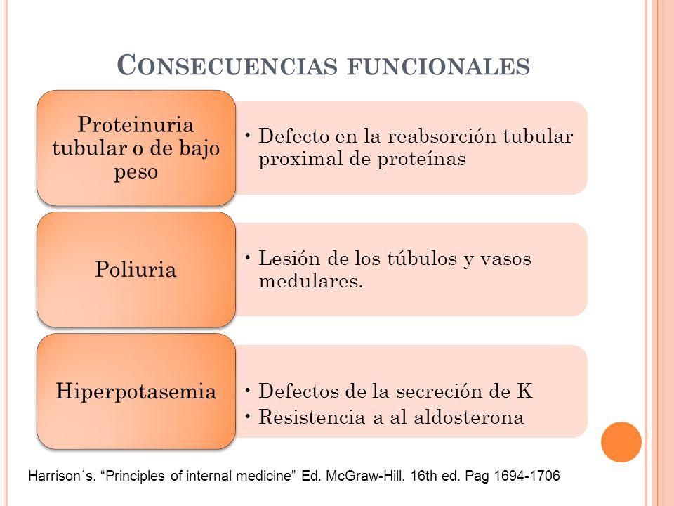 C ONSECUENCIAS FUNCIONALES Defecto en la reabsorción tubular proximal de proteínas Proteinuria tubular o de bajo peso Lesión de los túbulos y vasos me