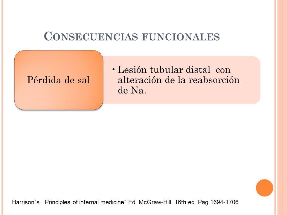 C ONSECUENCIAS FUNCIONALES Lesión tubular distal con alteración de la reabsorción de Na. Pérdida de sal Harrison´s. Principles of internal medicine Ed