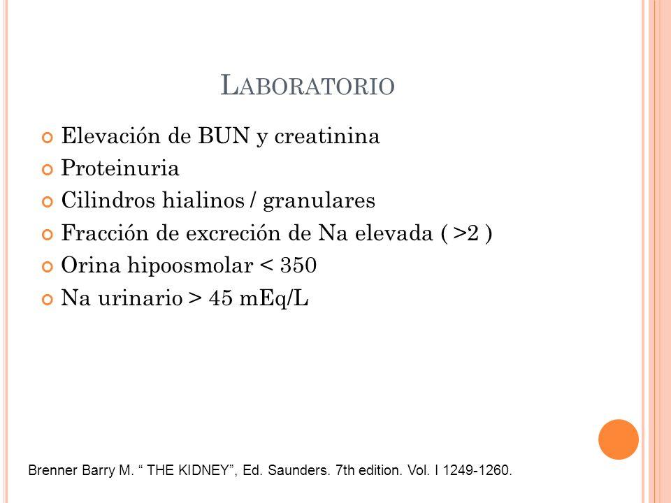L ABORATORIO Elevación de BUN y creatinina Proteinuria Cilindros hialinos / granulares Fracción de excreción de Na elevada ( >2 ) Orina hipoosmolar <