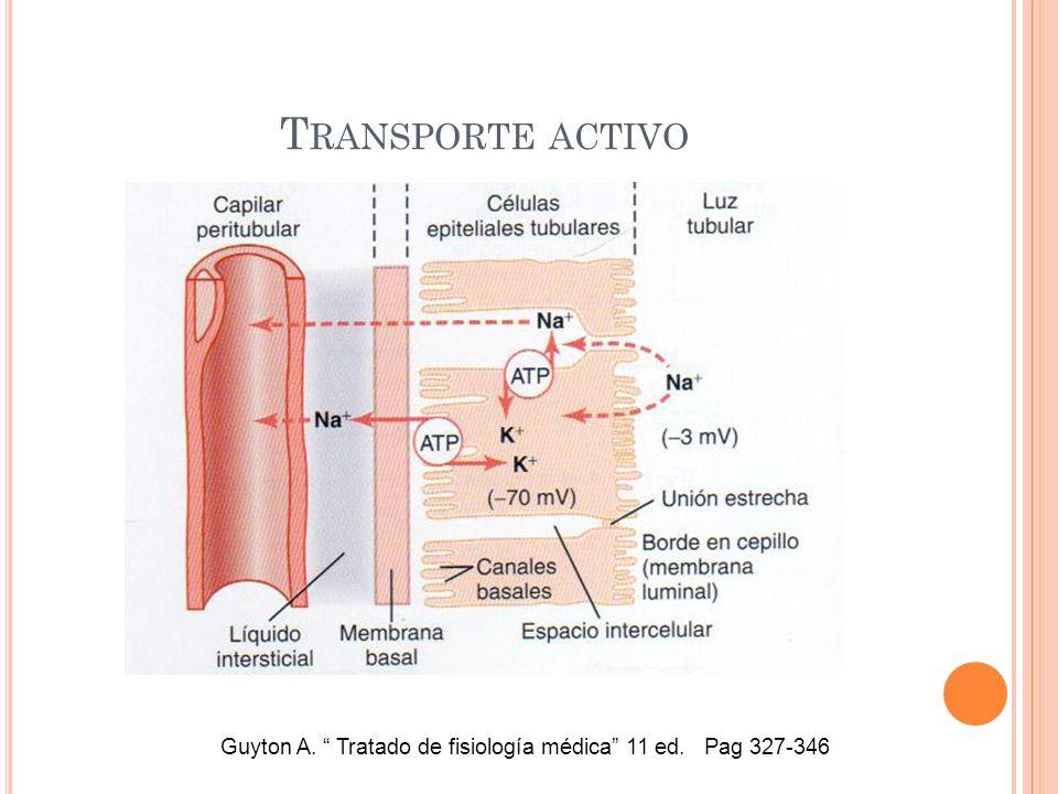 T RANSPORTE ACTIVO Guyton A. Tratado de fisiología médica 11 ed. Pag 327-346