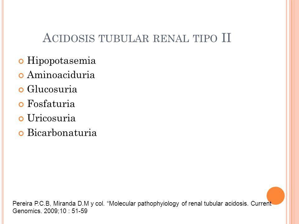 Hipopotasemia Aminoaciduria Glucosuria Fosfaturia Uricosuria Bicarbonaturia A CIDOSIS TUBULAR RENAL TIPO II Pereira P.C.B, Miranda D.M y col. Molecula