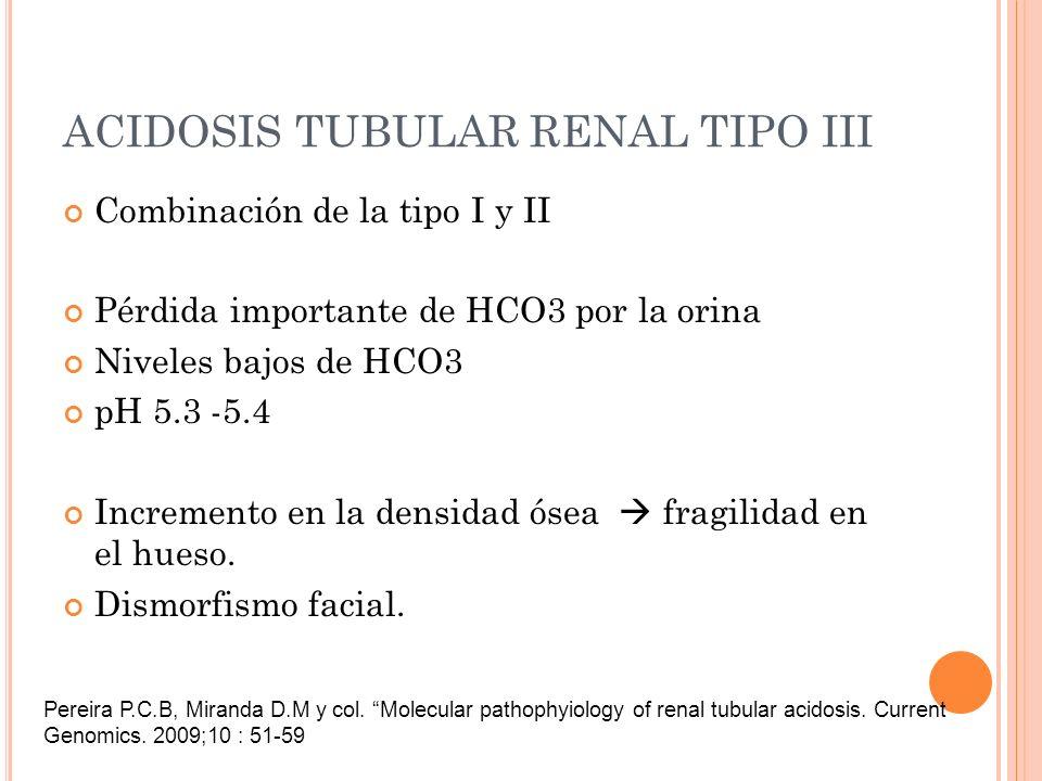 ACIDOSIS TUBULAR RENAL TIPO III Combinación de la tipo I y II Pérdida importante de HCO3 por la orina Niveles bajos de HCO3 pH 5.3 -5.4 Incremento en