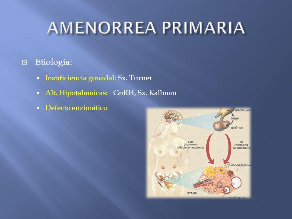 Etiología: Insuficiencia gonadal: Sx. Turner Alt. Hipotalámicas: GnRH, Sx. Kallman Defecto enzimático