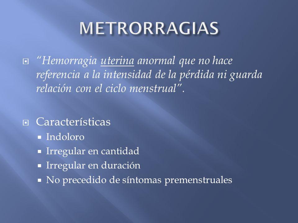 Hemorragia uterina anormal que no hace referencia a la intensidad de la pérdida ni guarda relación con el ciclo menstrual. Características Indoloro Ir