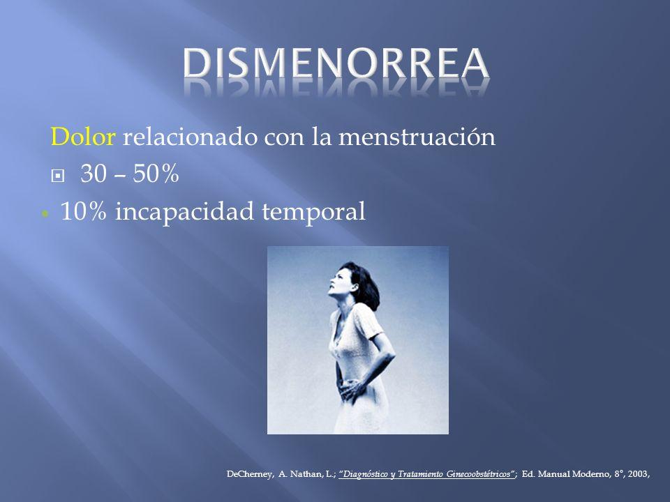 Dolor relacionado con la menstruación 30 – 50% 10% incapacidad temporal DeCherney, A. Nathan, L.; Diagnóstico y Tratamiento Ginecoobstétricos ; Ed. Ma