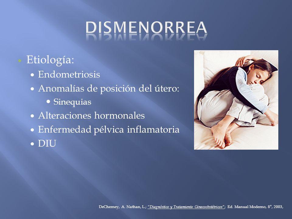 Etiología: Endometriosis Anomalías de posición del útero: Sinequias Alteraciones hormonales Enfermedad pélvica inflamatoria DIU DeCherney, A. Nathan,
