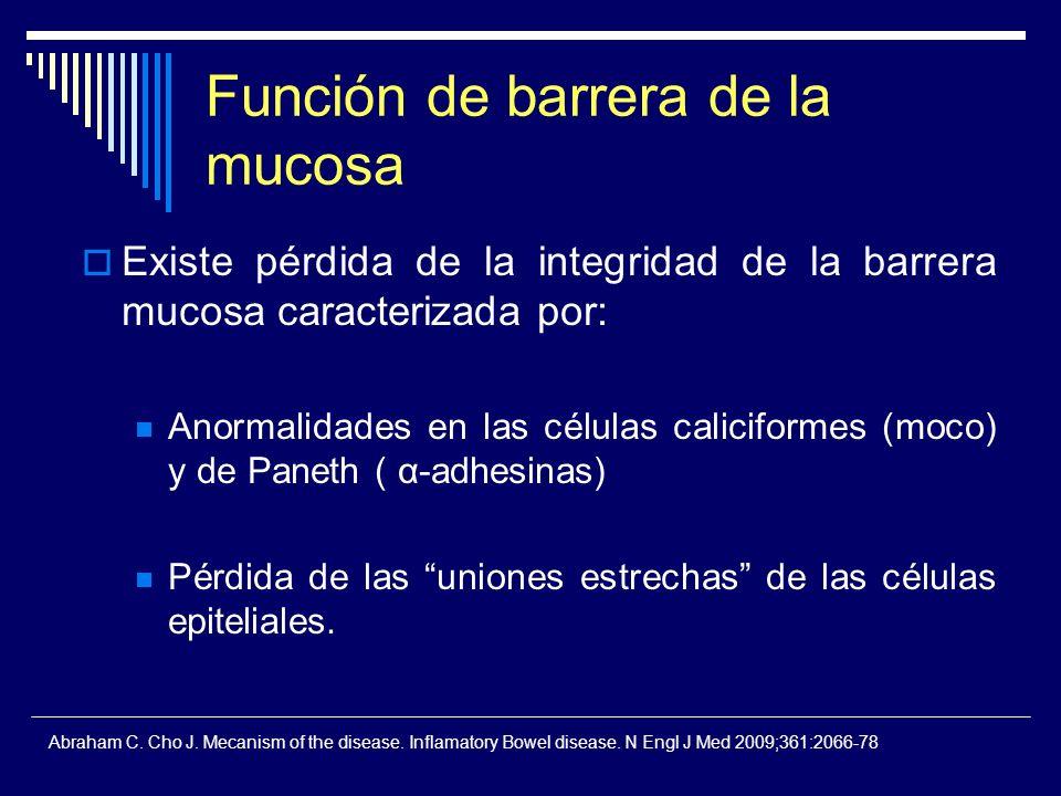 Función de barrera de la mucosa Existe pérdida de la integridad de la barrera mucosa caracterizada por: Anormalidades en las células caliciformes (moc