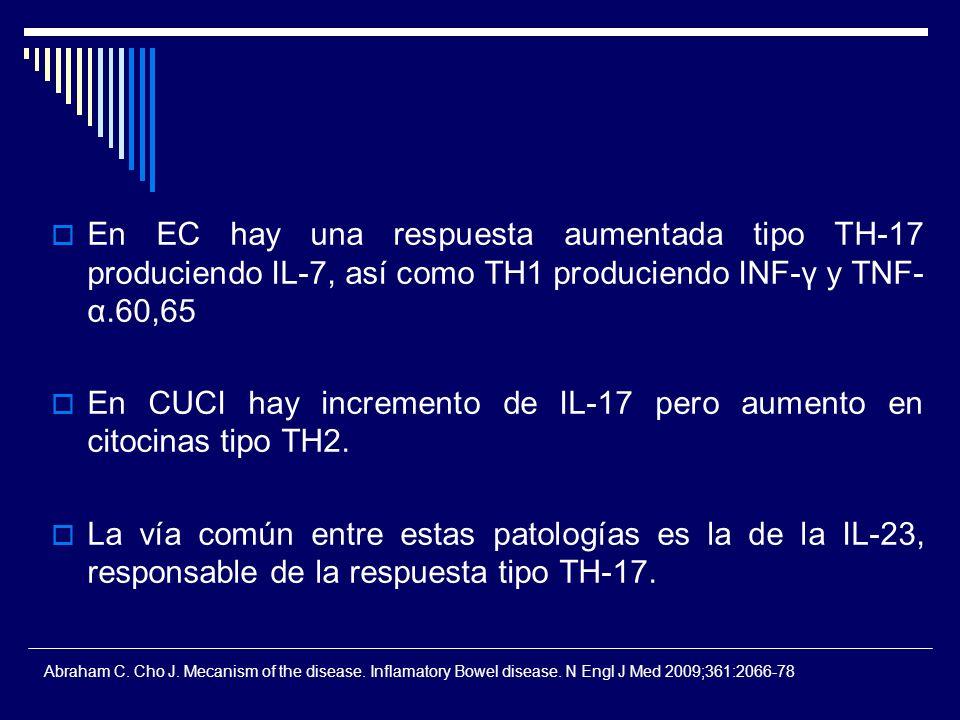 En EC hay una respuesta aumentada tipo TH-17 produciendo IL-7, así como TH1 produciendo INF-γ y TNF- α.60,65 En CUCI hay incremento de IL-17 pero aume