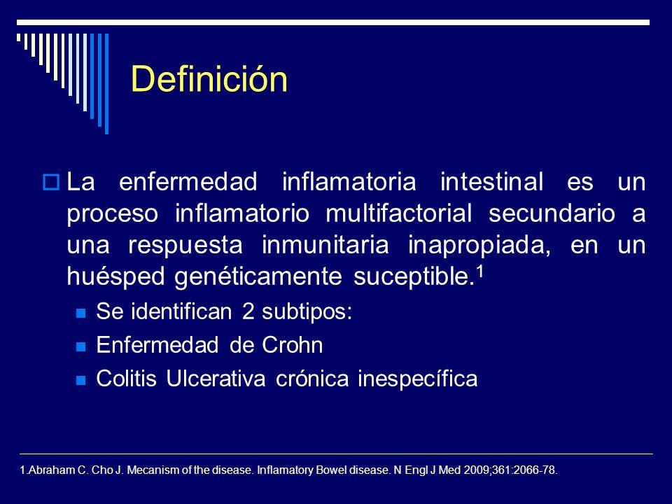 Definición La enfermedad inflamatoria intestinal es un proceso inflamatorio multifactorial secundario a una respuesta inmunitaria inapropiada, en un h