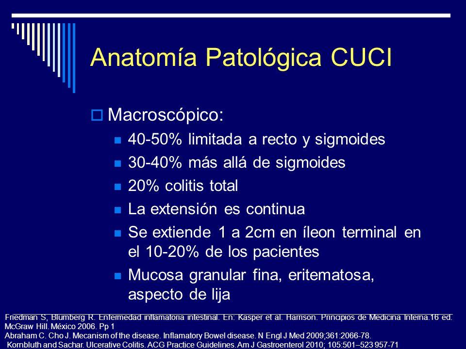 Anatomía Patológica CUCI Macroscópico: 40-50% limitada a recto y sigmoides 30-40% más allá de sigmoides 20% colitis total La extensión es continua Se