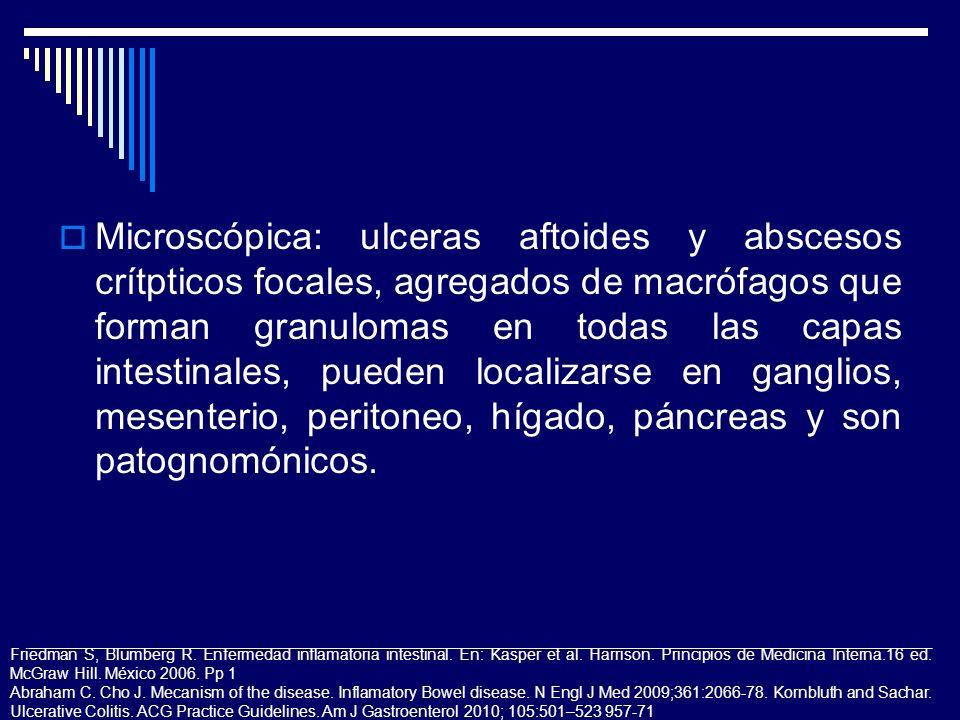 Microscópica: ulceras aftoides y abscesos crítpticos focales, agregados de macrófagos que forman granulomas en todas las capas intestinales, pueden lo
