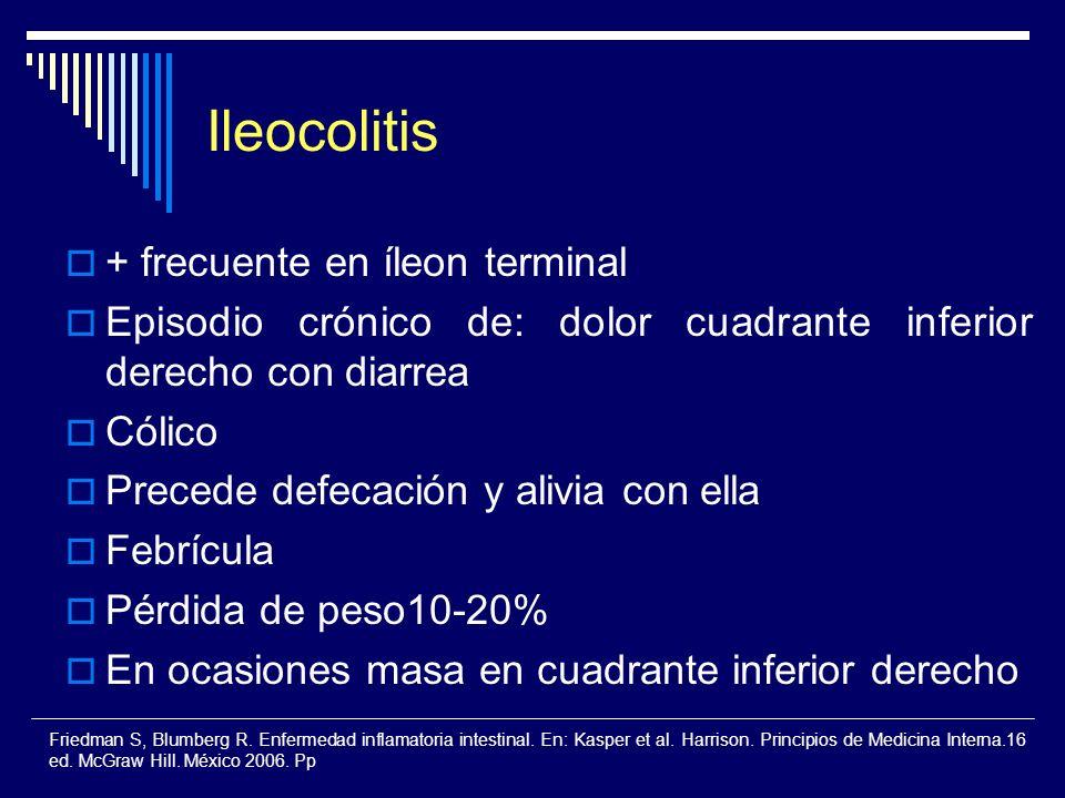 Ileocolitis + frecuente en íleon terminal Episodio crónico de: dolor cuadrante inferior derecho con diarrea Cólico Precede defecación y alivia con ell