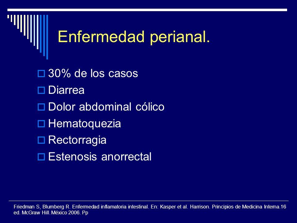 Enfermedad perianal. 30% de los casos Diarrea Dolor abdominal cólico Hematoquezia Rectorragia Estenosis anorrectal Friedman S, Blumberg R. Enfermedad