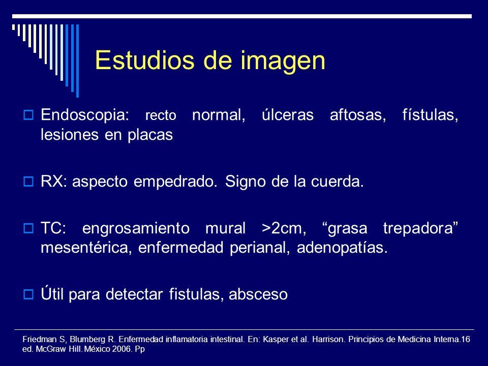 Estudios de imagen Endoscopia: recto normal, úlceras aftosas, fístulas, lesiones en placas RX: aspecto empedrado. Signo de la cuerda. TC: engrosamient