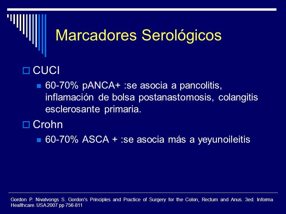 Marcadores Serológicos CUCI 60-70% pANCA+ :se asocia a pancolitis, inflamación de bolsa postanastomosis, colangitis esclerosante primaria. Crohn 60-70