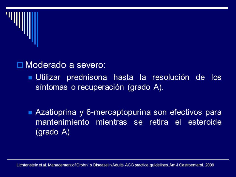 Moderado a severo: Utilizar prednisona hasta la resolución de los síntomas o recuperación (grado A). Azatioprina y 6-mercaptopurina son efectivos para