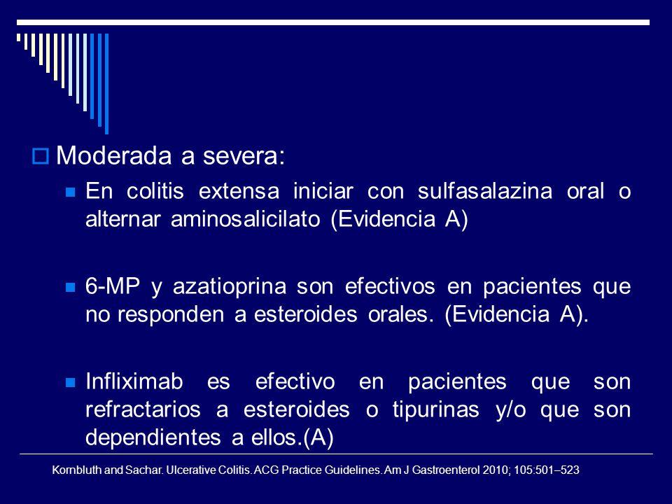 Moderada a severa: En colitis extensa iniciar con sulfasalazina oral o alternar aminosalicilato (Evidencia A) 6-MP y azatioprina son efectivos en paci