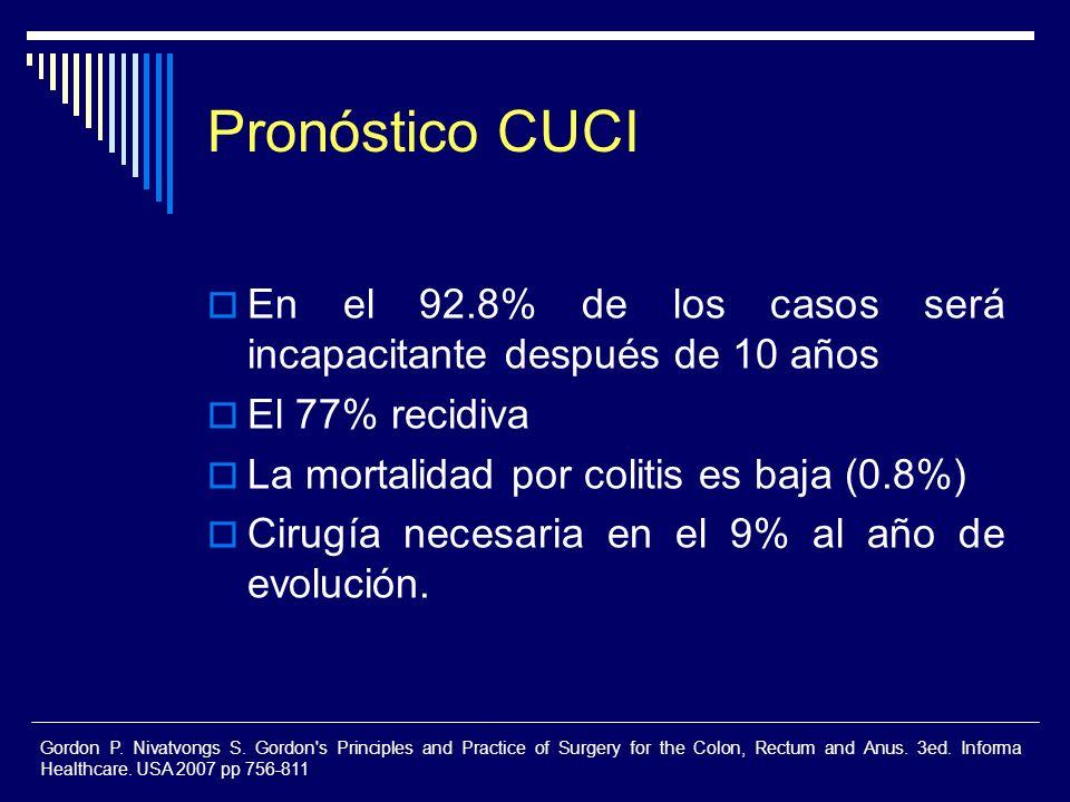 Pronóstico CUCI En el 92.8% de los casos será incapacitante después de 10 años El 77% recidiva La mortalidad por colitis es baja (0.8%) Cirugía necesa