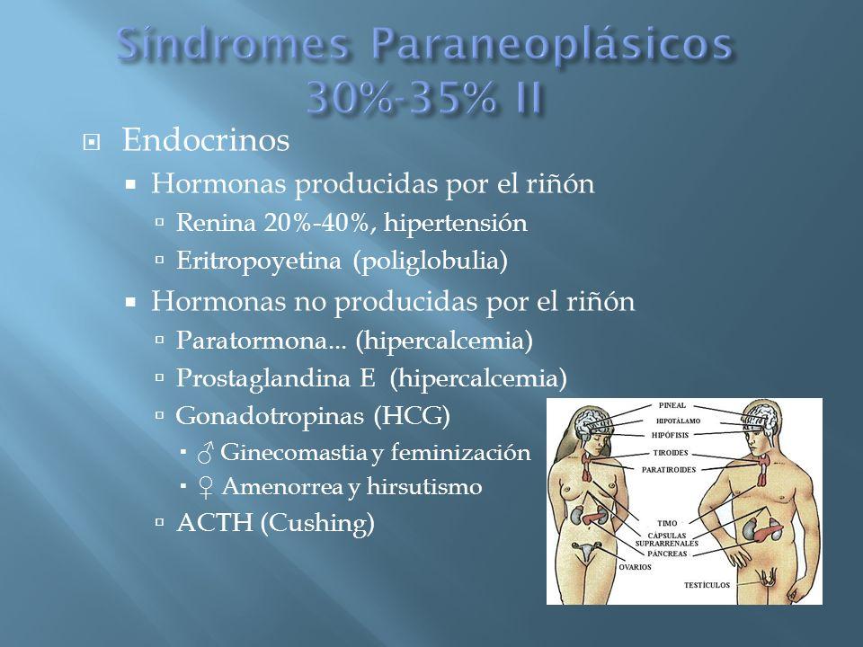 Endocrinos Hormonas producidas por el riñón Renina 20%-40%, hipertensión Eritropoyetina (poliglobulia) Hormonas no producidas por el riñón Paratormona