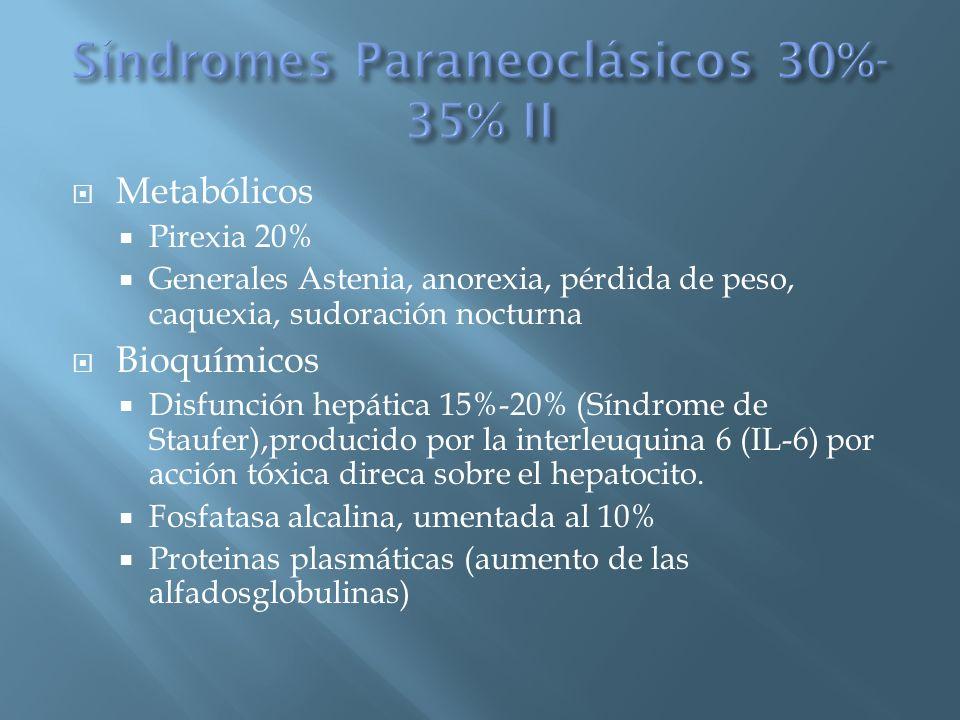 Metabólicos Pirexia 20% Generales Astenia, anorexia, pérdida de peso, caquexia, sudoración nocturna Bioquímicos Disfunción hepática 15%-20% (Síndrome