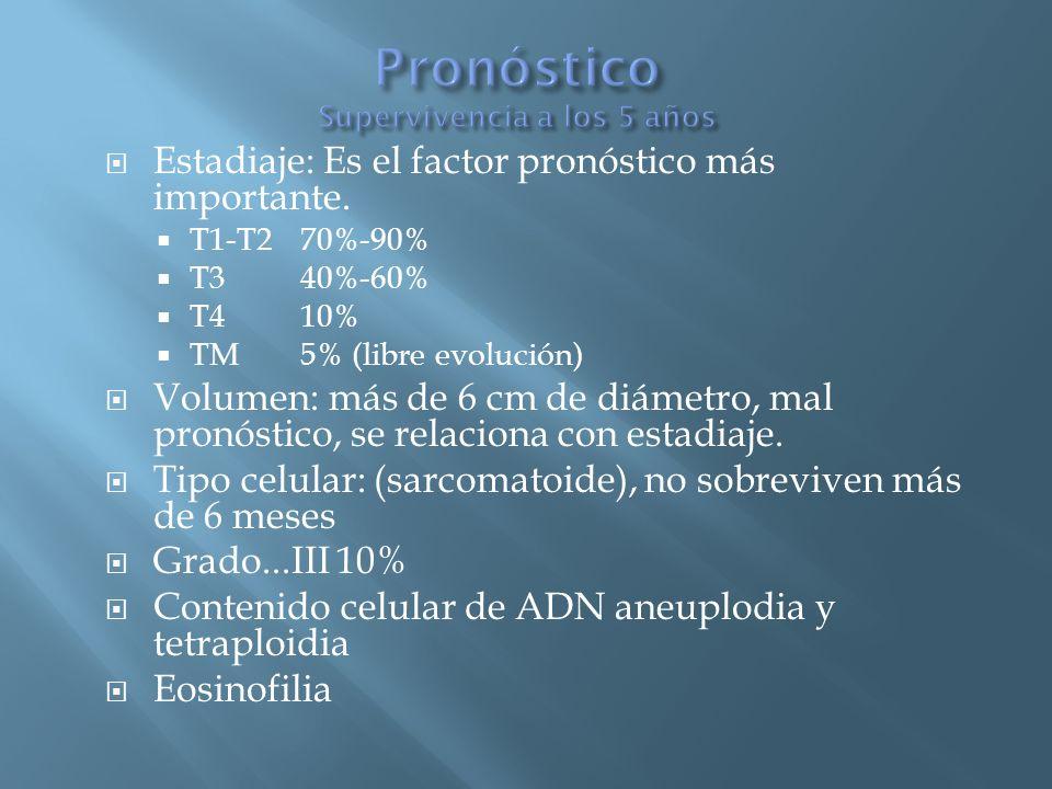 Estadiaje: Es el factor pronóstico más importante. T1-T2 70%-90% T3 40%-60% T410% TM5% (libre evolución) Volumen: más de 6 cm de diámetro, mal pronóst