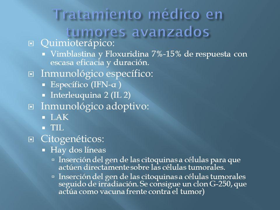 Quimioterápico: Vimblastina y Floxuridina 7%-15% de respuesta con escasa eficacia y duración. Inmunológico específico: Específico (IFN- α ) Interleuqu