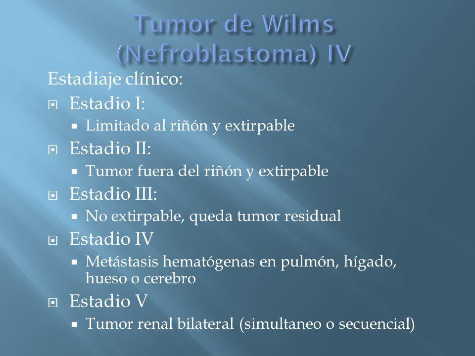 Estadiaje clínico: Estadio I: Limitado al riñón y extirpable Estadio II: Tumor fuera del riñón y extirpable Estadio III: No extirpable, queda tumor re