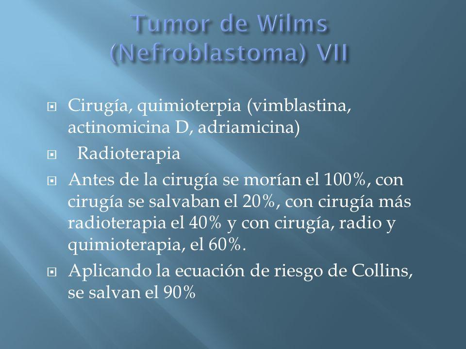Cirugía, quimioterpia (vimblastina, actinomicina D, adriamicina) Radioterapia Antes de la cirugía se morían el 100%, con cirugía se salvaban el 20%, c