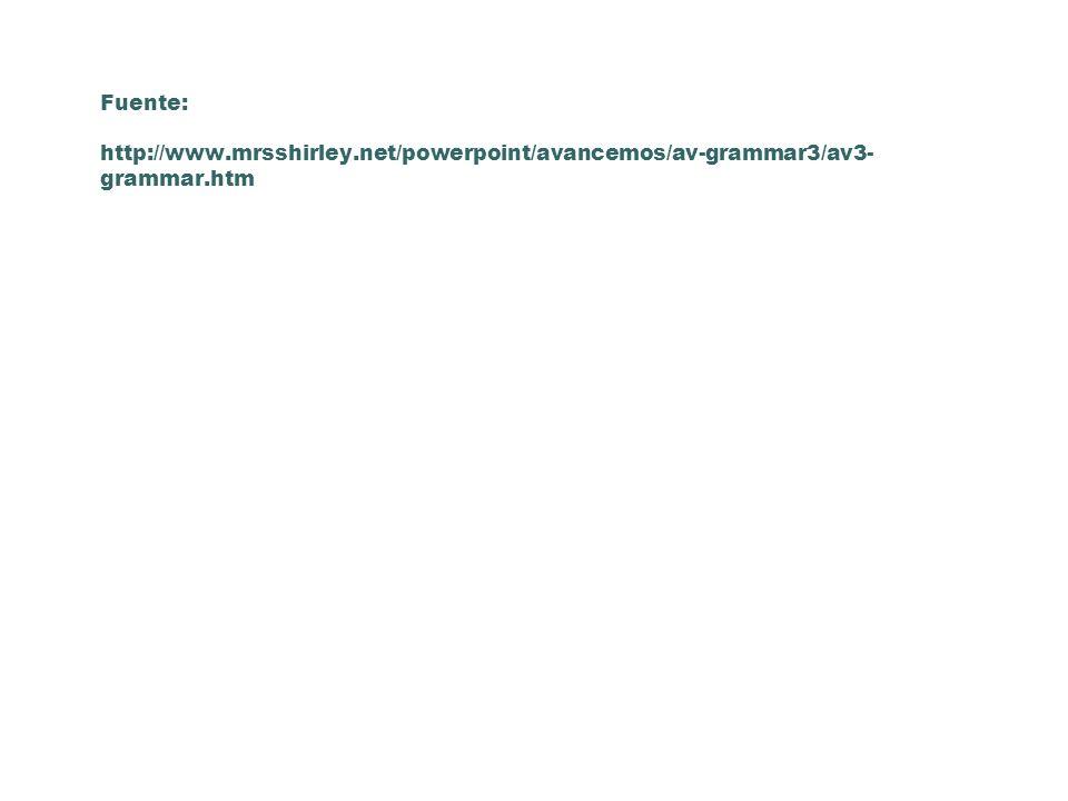 Fuente: http://www.mrsshirley.net/powerpoint/avancemos/av-grammar3/av3- grammar.htm