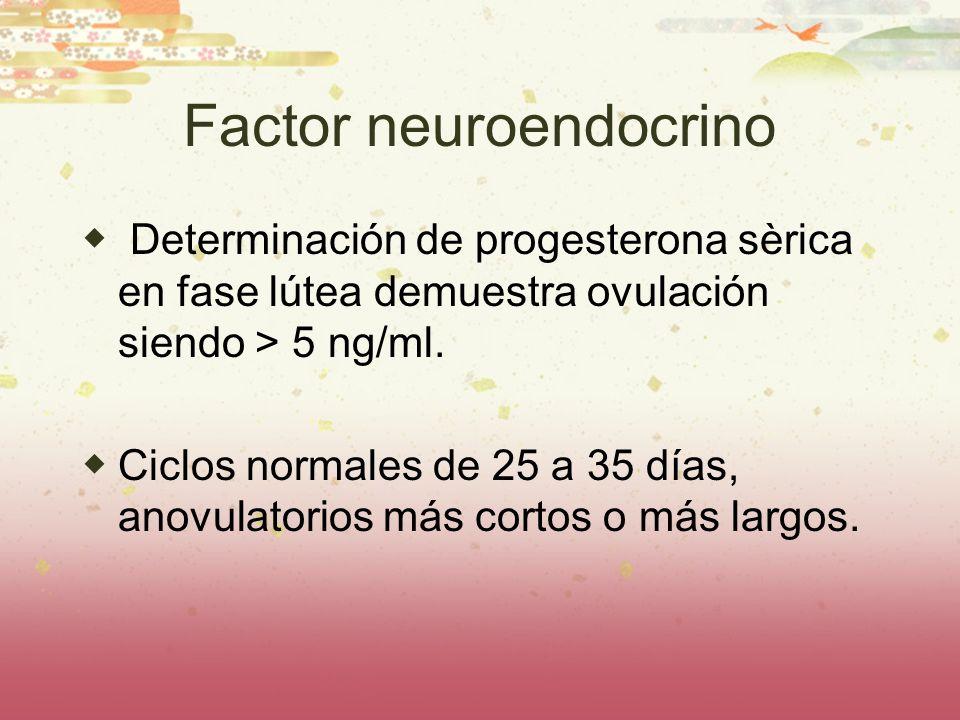 Factor neuroendocrino Determinación de progesterona sèrica en fase lútea demuestra ovulación siendo > 5 ng/ml. Ciclos normales de 25 a 35 días, anovul