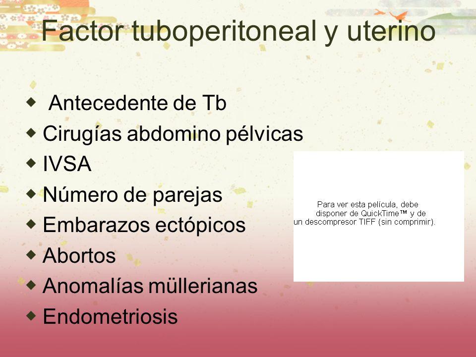 Factor tuboperitoneal y uterino Antecedente de Tb Cirugías abdomino pélvicas IVSA Número de parejas Embarazos ectópicos Abortos Anomalías müllerianas