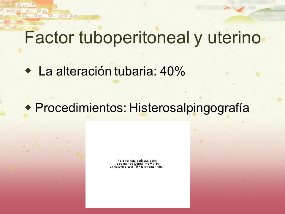 Factor tuboperitoneal y uterino La alteración tubaria: 40% Procedimientos: Histerosalpingografía