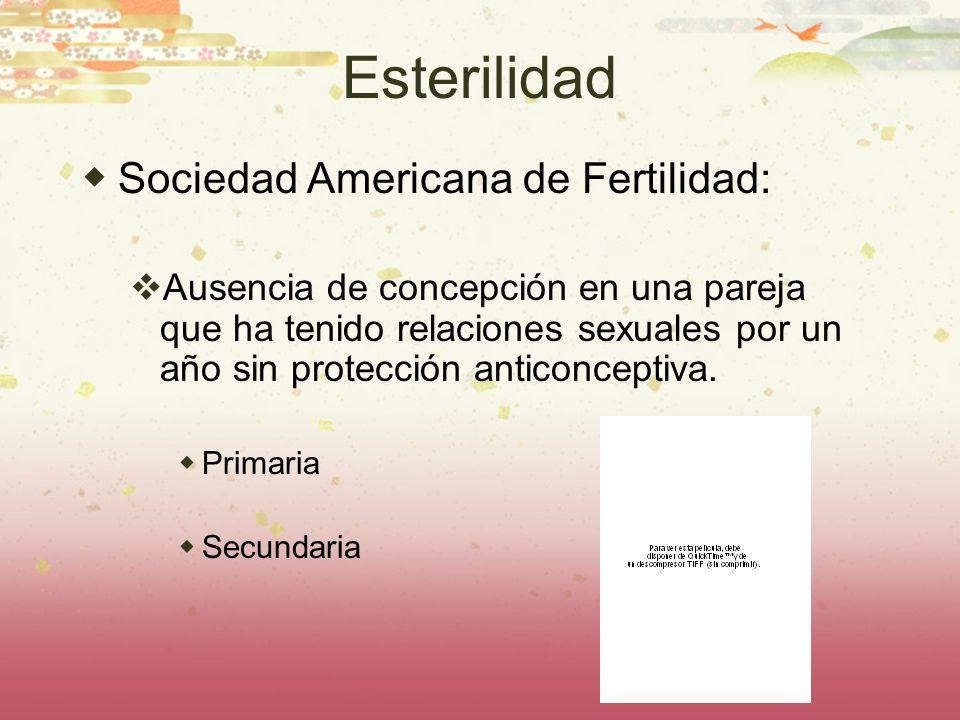 Esterilidad Sociedad Americana de Fertilidad: Ausencia de concepción en una pareja que ha tenido relaciones sexuales por un año sin protección anticon