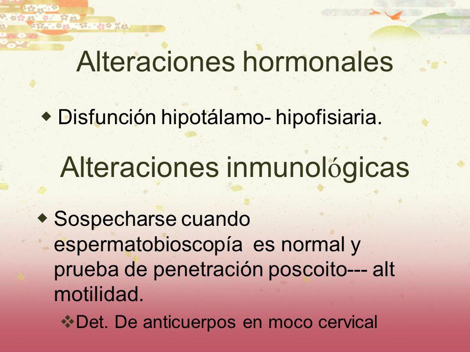 Alteraciones hormonales Disfunción hipotálamo- hipofisiaria. Alteraciones inmunol ó gicas Sospecharse cuando espermatobioscopía es normal y prueba de