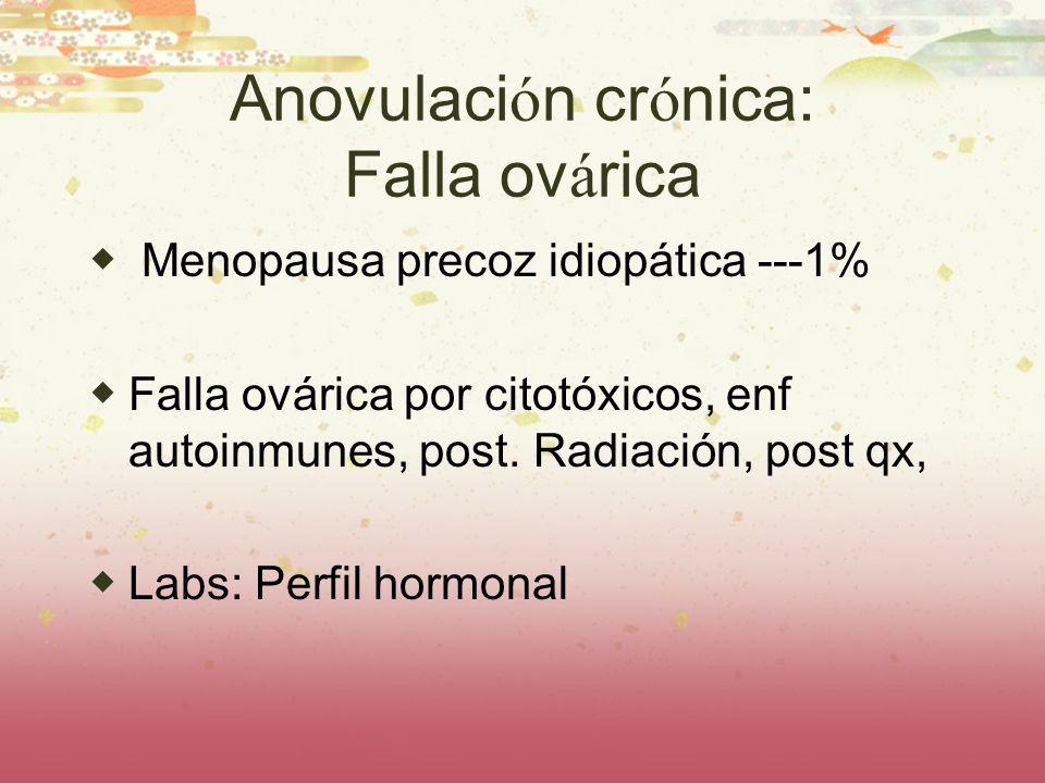 Anovulaci ó n cr ó nica: Falla ov á rica Menopausa precoz idiopática ---1% Falla ovárica por citotóxicos, enf autoinmunes, post. Radiación, post qx, L