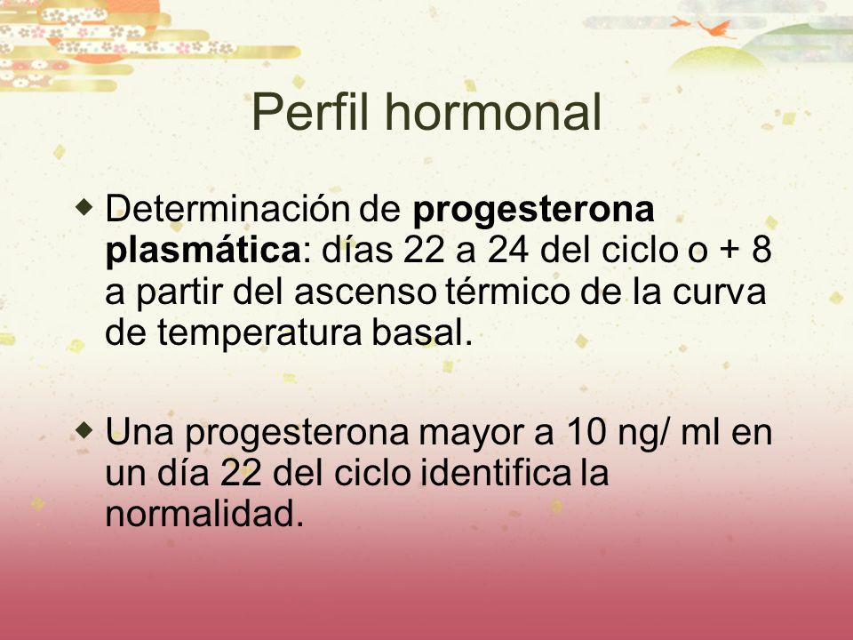 Perfil hormonal Determinación de progesterona plasmática: días 22 a 24 del ciclo o + 8 a partir del ascenso térmico de la curva de temperatura basal.