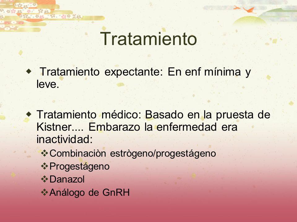 Tratamiento Tratamiento expectante: En enf mínima y leve. Tratamiento médico: Basado en la pruesta de Kistner.... Embarazo la enfermedad era inactivid