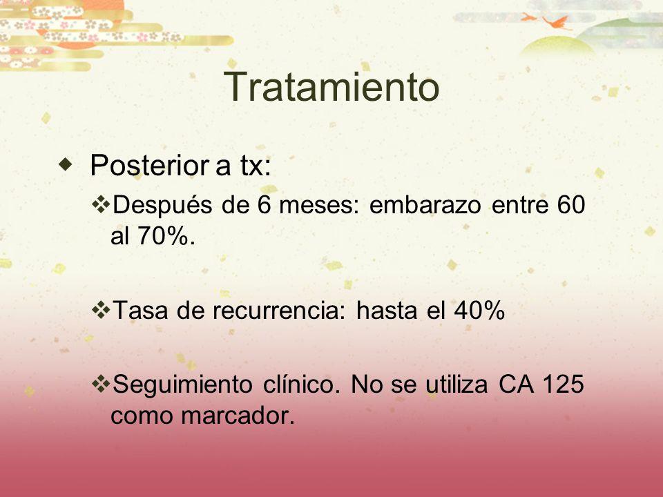 Tratamiento Posterior a tx: Después de 6 meses: embarazo entre 60 al 70%. Tasa de recurrencia: hasta el 40% Seguimiento clínico. No se utiliza CA 125