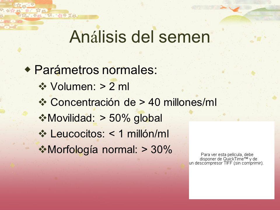 An á lisis del semen Parámetros normales: Volumen: > 2 ml Concentración de > 40 millones/ml Movilidad: > 50% global Leucocitos: < 1 millón/ml Morfolog