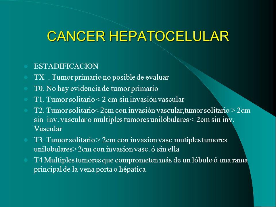 CANCER HEPATOCELULAR ESTADIFICACION TX. Tumor primario no posible de evaluar T0. No hay evidencia de tumor primario T1. Tumor solitario < 2 cm sin inv