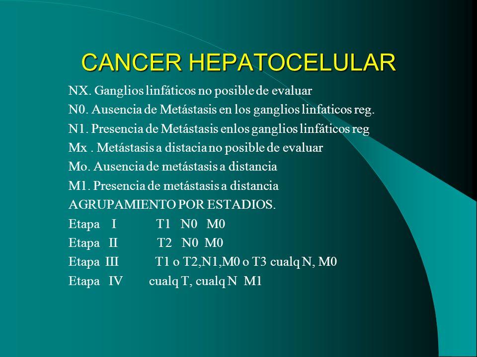 CANCER HEPATOCELULAR NX. Ganglios linfáticos no posible de evaluar N0. Ausencia de Metástasis en los ganglios linfaticos reg. N1. Presencia de Metásta