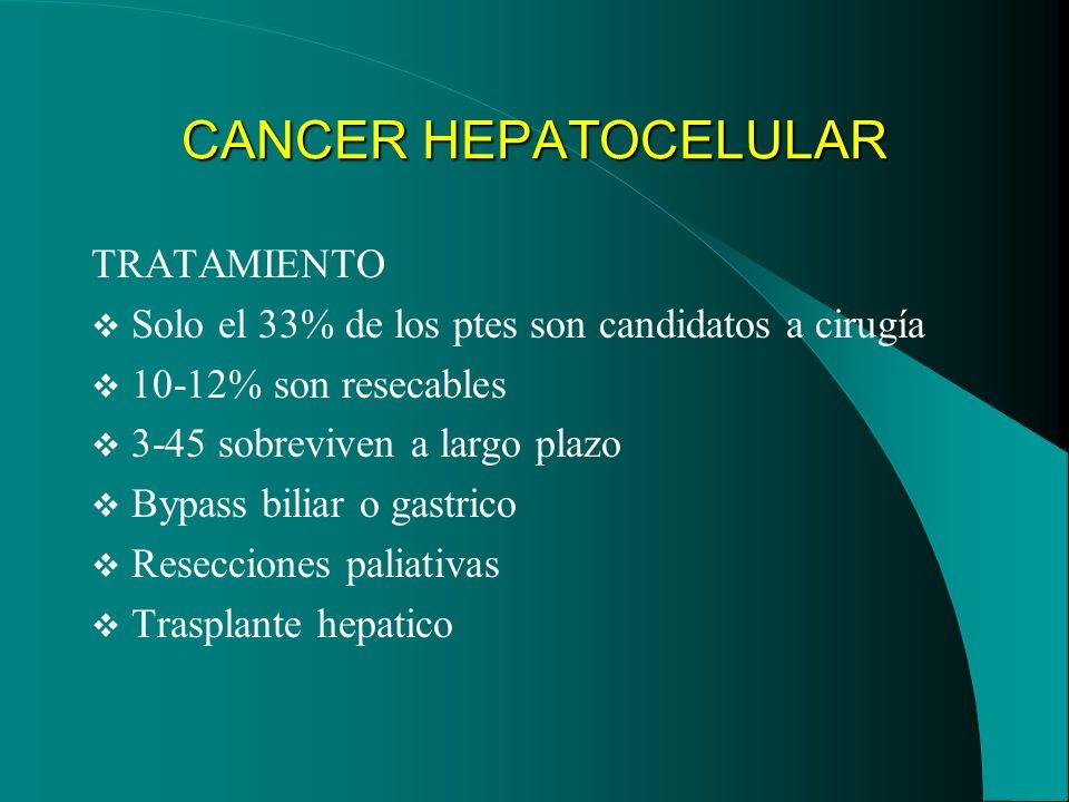 CANCER HEPATOCELULAR TRATAMIENTO Solo el 33% de los ptes son candidatos a cirugía 10-12% son resecables 3-45 sobreviven a largo plazo Bypass biliar o