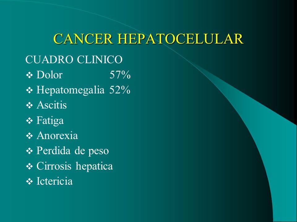 CANCER HEPATOCELULAR DIAGNOSTICO Interrogatorio Examén físico Bh Transaminasas hepaticas Fosfatasa alcalina Albúmina